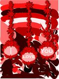 I love you background in red tones. Illustration usable as background or saint valentine's greeting card stock illustration