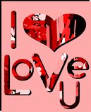 I love you background in red tones. Illustration usable as background or saint valentine's greeting card royalty free illustration