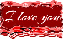 I love you background in red tones isolated. Illustration usable as background or saint valentine's greeting card royalty free illustration