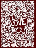 I love you background in red and white Stock Image