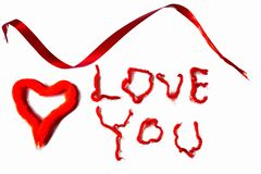 I love you background. Red on white. Valentine day background. Postcard.  royalty free stock images