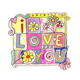 I Love You Badge vector illustration