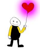 I Love You Balloon. Cartoon figure holding a balloon in the shape of a heart Royalty Free Stock Photos