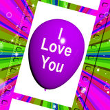 I Love You Balloon Represents Love and Couples Royalty Free Stock Photos