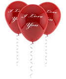 I love you balloons. On white Stock Images