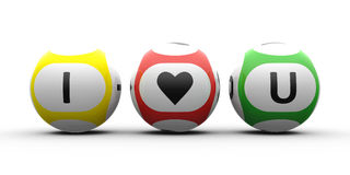 I love You. Balls. 3d rendering of lottery balls on a white table represents symbol of love (Valentine's Day Stock Photography