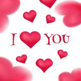 I love you banner with pink hearts Royalty Free Stock Photos