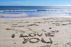 I love You on the beach. Declaration of love in the beach sand stock photos