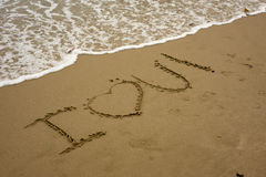 I LOVE YOU  on the beach Stock Images