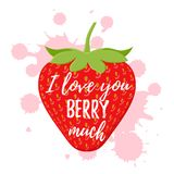 Love you berry much quote design. Vector illustration. Stock Images