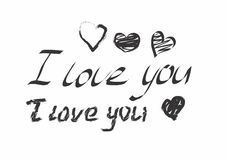 I love you black text and hearts Royalty Free Stock Image