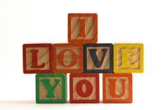 I love you blocks. Wooden blocks stacked horizontally, spelling I Love You Royalty Free Stock Photography