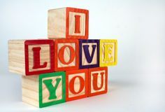 I love you blocks. Toy blocks spelling out I love you Royalty Free Stock Image