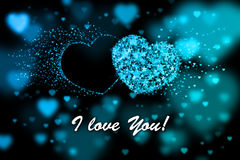 I love You. Blue hearts background with bokeh effect Stock Photography