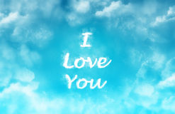 I Love You on the blue sky Royalty Free Stock Image