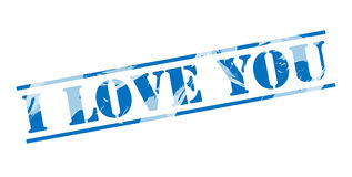 I love you blue stamp. Isolated on white background Royalty Free Stock Images