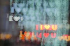 `I Love You` bokeh background. `I Love U` shape bokeh background royalty free stock image