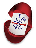 I Love You - box as open heart with text Royalty Free Stock Image