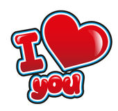 I Love you. In bright red Stock Photography
