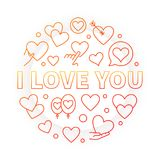 I Love You bright round vector outline illustration. Or sign. Valentines day concept on white background Royalty Free Stock Photos