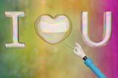 I love you bubble on colorful background. 3D illustration. I love you bubble on colorful background. 3D illustration vector illustration