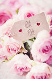 I love you. A bunch of pink roses and greeting card Royalty Free Stock Photography