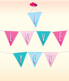 I Love you bunting message on flags Stock Photos