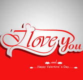 I Love You calligraphic headline text. And happy valentines day colorful background Stock Photo