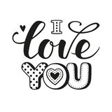 I love you calligraphic Lettering Royalty Free Stock Photos