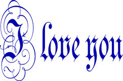 I Love You Calligraphy Pen and Ink Stock Photos