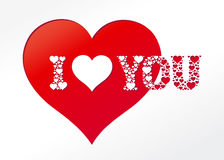 I love you - card. Vector Valentine's day card I heart you Stock Image