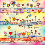 I Love You Card. Whimsical illustration with flowers and hearts, suitable for a greeting card or other decorative project. Created with watercolor, colored Royalty Free Stock Photos