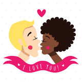 I love you card and background with kissing couple (young blonde man and African American young woman), ribbon and heart. Royalty Free Stock Photos