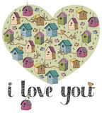 I love you card. With birds Royalty Free Stock Photos