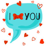 I love you card with bow-knot Royalty Free Stock Photography