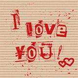 I love you card. vector illustration