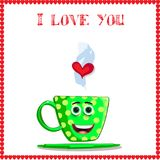 I love you card with cute green cup with cartoon face. Yellow polka dots and heart in steam framed with red hearts border. Vector illustration, love clip art Stock Photos