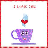 I love you card with cute lilac mug with girl`s face. Pink polka dots and heart in steam framed with red hearts border. Vector illustration, love clip art for Royalty Free Stock Images