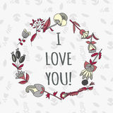 I love you card. Cute retro vector card with flowers. Vintage floral background with plants Royalty Free Stock Photography