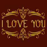 I love you card with decorative divider Stock Photography