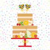 I love you Card design - Birthday, valentine`s day, wedding, engagement. Sweet cake decorated with fresh fruits and berries,  lol Royalty Free Stock Images