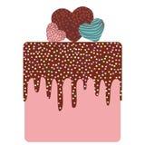I love you Card design - Birthday, valentine`s day, wedding, engagement. Sweet cake, strawberry pink cream chocolate icing sprink Stock Photo