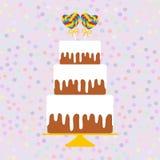 I love you Card design - Birthday, valentine`s day, wedding, engagement. Sweet cake, white cream chocolate cake lollipop heart, p Stock Photography