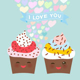 I love you Card design with chocolate Cupcake Kawaii funny muzzle with pink cheeks and winking eyes, pastel colors on light blue b Stock Image