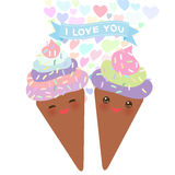 I love you Card design with chocolate Ice cream waffle cone Kawaii funny muzzle with pink cheeks, pastel colors on white backgroun Stock Image