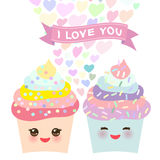 I love you Card design with Cupcake Kawaii funny muzzle with pink cheeks, pastel colors on white background. Vector Stock Images