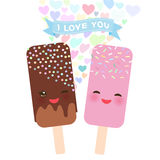 I love you Card design with Kawaii chocolate and strawberry Ice cream, ice lolly with pink cheeks and winking eyes, pastel colors. On white background. Vector royalty free illustration