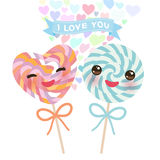 I love you Card design with Kawaii Heart shaped candy lollipop with pink cheeks and winking eyes, pastel colors on white backgroun. D. Vector illustration stock illustration