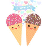 I love you Card design with Kawaii Ice cream waffle cone funny muzzle with pink cheeks and winking eyes, pastel colors on white ba Stock Photo
