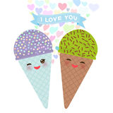 I love you Card design with Kawaii Ice cream waffle cone funny muzzle with pink cheeks and winking eyes, pastel colors on white ba Royalty Free Stock Photos